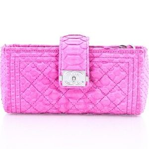 Chanel Boy Python Wallet On Chain Pink